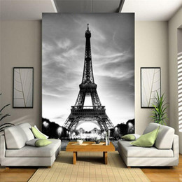 pavimenti in vinile d'epoca Sconti Glitter Wallpaper Nero Bianco City Building Parigi Eiffel Tower Pareti 3d Flooring Marble Vinyl Vintage Papel De Parede Pintado