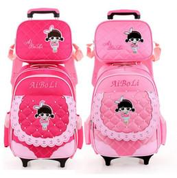 Wholesale Trolley School Bag For Children - New 2017 summer wheels School Bags 2 Wheels Rolling Cart Removable Trolley Kids Schoolbag Lovely Cartoon Girls Children Backpack for Girls