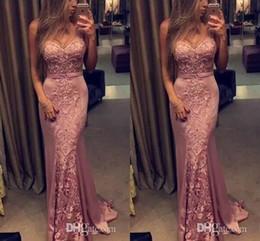 Bainha vestido de noiva de renda doce on-line-2017 Nova Sexy Rosa Rosa 2k17 Bainha Vestidos de Baile Querida Lace Apliques Sem Mangas Caixilhos Longos Vestidos de Festa À Noite Pageant Vestidos