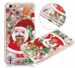 Wholesale Iphone Santa Case 3d - Christmas Santa Trees Liquid Glitter Quicksand 3D Bling ShockProof Cover For Apple iPhone 5 5S 6 6S 7 Plus Free DHL Shipping