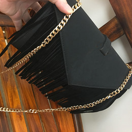 Wholesale Brow Bag - Women's Diagonal Ladies Chain Bag Classisc Tassel Mteal Leathes Gold Chain Leather Shoulder Messenger Bag Handbag Clutch 6619 Black Red Brow