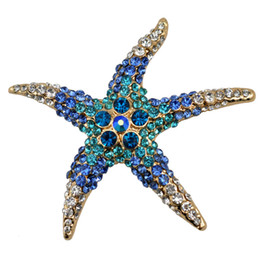Wholesale Gold Brooches For Wedding - Wholesale- 2016 summer 3 Kind Colors Optional Adorable Blue Crystal Rhinestone Starfish Brooches for women wedding