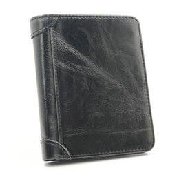 Wholesale Carteiras Vintage - Vintage 100% Genuine Cowhide Leather Men Short Wallet Purse Card Holder Coin Pocket Male Wallets Carteiras Masculinas QB164