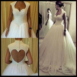 Wholesale Open Back Pearl Wedding Dress - 2018 New Design A Line Pearls Beaded Wedding Dresses Open Back Tulle Skirt High Quality Long Wedding Bridal Gowns