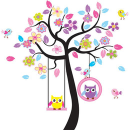 Wholesale Baby Owl Sticker - Hot 8 Designs Large Flower Tree & Owls 3d Removable Wall sticker Decal Baby Nursery Wall Decor Kids Room Wall Decals home decoration mural