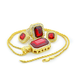 Wholesale Black Costume Jewelry Rings - Mens Bling Bling Hip Hop Costume Jewelry Set Big Ruby Pendant Necklaces 18k Gold Plated Earrings Ring Necklace Sets Crystal Men Jewelry