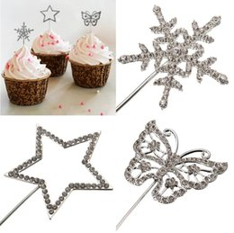 Wholesale Diamante Cake Toppers - Free Shipping !!! Diamante Rhinestone Gem Cake Pick Topper Weddings Birthdays Annivesary Accessory Perfect Gift For Your Friends