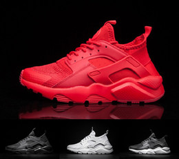 Wholesale Canvas Shoes Low High - 2017 air Huarache IV Running Shoes For Men Women, Triple Black White red High Quality Sneakers Huaraches Jogging Sports Shoes Eur 36-45
