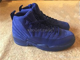 Wholesale High Cut For Womens - Mens Womens air retro 12 blue suede shoes 2016 retro 12 deep royal blue basketball shoes for sale freeshipping retro 12s High Quality