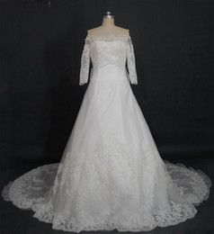 Wholesale Lace Empire Neckline Wedding Dress - 2016 New Wedding Dresses Strapless Neckline Appliques Beaded With Handmade Flowers Organza Chapel Train Dresses Real Images Bridal Gowns