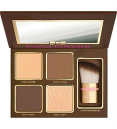 Wholesale Shimmer Brush - New Makeup COCOA Contour Kit 4 Colors Bronzers Highlighters Powder Palette Nude Color Shimmer Stick Cosmetics Chocolate Eyeshadow with Brush