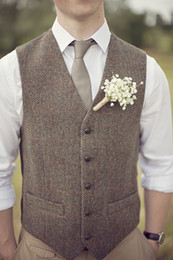Wholesale Vintage Mens Style - 2017 Vintage Brown Tweed Vest Wool Herringbone Groom Vests British Style Mens Suit Vests Slim Fit Mens Dress Vest Custom Wedding Waistcoat