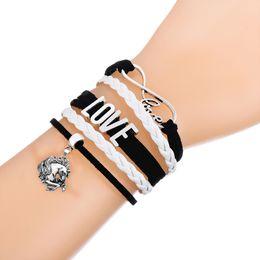 Wholesale Leather Cord Bracelets Sale - Bracelet Hot Sale Infinity Love With Lucky Horses Bracelet Wax Cords Wrap Braided Leather Adjustable Bracelet Bangles-Drop Shipping