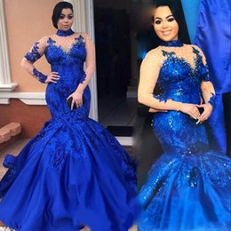 Wholesale Nude Back - Saudi Arabia Royal Blue Prom Dresses High Neck Nude Mesh Long Sleeves Lace Appliques Evening Gowns Plus Size Satin Mermaid Formal Wear