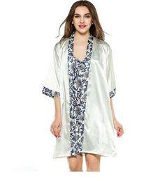 Wholesale Sexy Night Robe Set - Women Robe Gown Set 2017 Fashion Faux Silk Robe Femme Satin Sleepwear Home Suit Night Sleep 2 Pcs Bathrobe Set Sexy Sleepshirts Nightwear