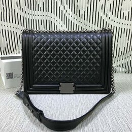 Wholesale Blue Quilted Chain Bag - Free Shipping !Fashion Quilted Chain 30CM Bag Women Genuine Leather Shoulder Bag 67087