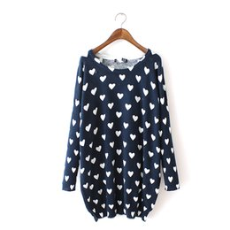 Wholesale Heart Print Sweater - Wholesale-Women Sweaters and Pullovers Women Loose Fashion Dark blue Heart Print Long Knitted Sweaters S
