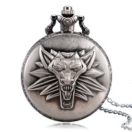 Wholesale Dress Hunting - Wholesale-Top Game Theme The Witcher 3 Wild Hunt Vintage Pocket watch Men Chain Boy Pendant Gift 2016 Popular Relogio De Bolso