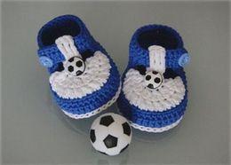 Wholesale Baby Crochet Football - Baby Boys Girls Crochet Halloween Football Sports Shoes Newborn Flattie Toddler Helloyaya Cotton Kids Prewalker First Walker Shoes Booties