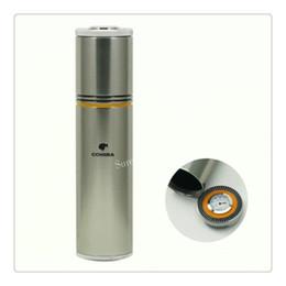 Wholesale Humidifier Cigars - COHIBA Gadgets Yellow&Black&Silver Aluminium Alloy Travel Cigar Tube Portable Jar MINI Humidor W  Humidifier Hygrometer