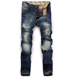 Wholesale Denim Business Casual - Men Denim Jeans Mid-weight Straight Slim Male Scratched Jeans Pants Casual Business Style Men Black Hole Jeans