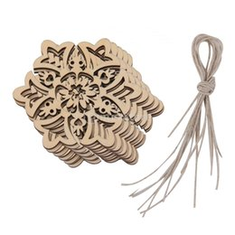 Wholesale Favor Tags - Wholesale-10 Carved Wood Snowflake Christmas Tree Hanging Ornament Tag Xmas Room Decor