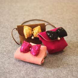 Wholesale Mini Rose Bows - Everweekend New Fashion Girls Pu Leather Mini Purse Cross Bags with Sequins Bow Brown Pink and Rose Color Fashion Children Bags