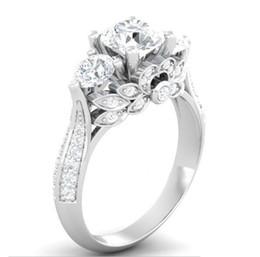 Anéis gia on-line-EUA GIA certificado SONA diamante 100% Anel de Prata Sólida Jóias 2ct Anéis de Noivado para As Mulheres 925 Anel de Prata Esterlina