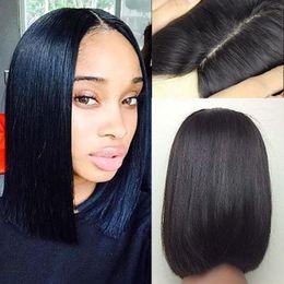 base de soie bob Promotion 2017 Soie Base Court bob perruques de cheveux humains pour les femmes noires partie moyenne Bob pleine perruques de dentelle perruques de cheveux humains bruts crus