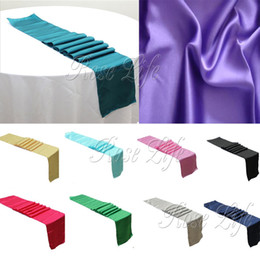 Wholesale Runner Accessories - Wholesale- 10Pcs lot Satin Table Runner 30cm x 275cm For Wedding Party Banquet Table Decoration Supply Table Cover Tablecloth Accessories