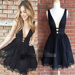 Wholesale Dress Min - 2017 Hot Sexy Black Lace Short Cocktail Dresses Deep V Neck A Line Beaded Min Evening Party Gown Custom Made Cheap Sale