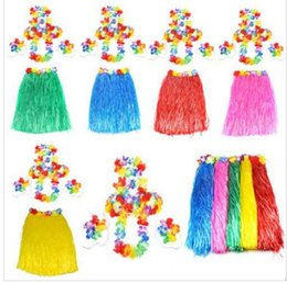 Wholesale Fancy Embroidered Dresses - 60cm Hawaiian Hula Grass Skirt 5 PCS  1SET Luau Fancy Dress Costume Party Beach Flower Garland Bracelet Head KKA2207