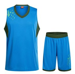 Wholesale Diy Train Set - 2017 New Unisex Basketball Jersey Set With Shorts Men Sport Training Basketball Suits Reversible Big Size Can DIY Customized