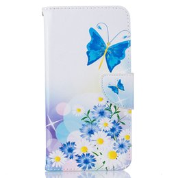Wholesale Fresh Flower Cards - Cute Fresh Butterfly Flower Pattern Flip Stand Card Slots Wallet Magnetic Cover Leather Case For iPhone 6 7 7Plus
