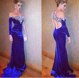 Wholesale One Shoulder Ball Gowns Prom - Fashion Velvet Evening Dress 2016 New Sweetheart One Shoulder Crystal Beaded Slim Women Formal Gown For Prom Party