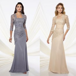 Wholesale Strapless Lace Sheath Wedding Dress - Strapless Sexy Column Dress Evening Wear With Lace Jacket Wedding Party Gown Custom Made Sheath Floor Length Mother of the Bride Dresses