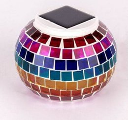 Wholesale Table Lamp Led Outdoor - Solar Powered Mosaic Glass Ball LED Garden Lights,Color Changing Solar Table Lamps,Waterproof Solar Outdoor Lights for Christmas MYY