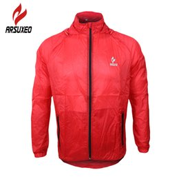 Wholesale Running Windproof Jacket - Wholesale-ARSUXEO Windproof Long Sleeve Jersey Clothing Men's Breathable Bike Bicycle Cycling Cycle Jacket UV Protection Lightweight Coat