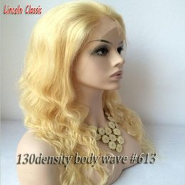 Wholesale French Human Body - Best quality brazilian virgin front human hair 613 blonde lace wig with baby hair glueless body wave full lace wig with free part