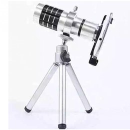Wholesale Telephoto Universal 12x - Wholesale- 12X Zoom Mobile Telephoto Lens F2.0 20mm 90 Phone Monocular Telephoto Lens Telescope + Tripod Holder For Universal Smart-phones
