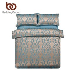 Wholesale Luxury Gold Duvet - Wholesale-Recommend Luxury Jacquard Bedding Set Elegant And Noble Bronze Bedding Reactive Printing Bedclothes 4Pcs Queen King Factory