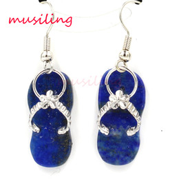 Wholesale Blue Copper Turquoise Earrings - Drop Earrings Jewelry For Women Slippers Natural Gem Stone Earring Lapis Lazuli Blue Turquoise etc Fashion Accessories