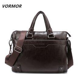 Wholesale Large Gray Leather Handbag - Wholesale- VORMOR New Leather Men's Handbag Business Men Briefcase Bag Large Capacity Shoulder Tote Bags Rivet Hollow Bottom Man Laptop Bag