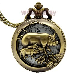 Wholesale Chinese Zodiac Pocket Watches - Wholesale-Hot Chinese Zodiac 12 Free shipping Bronze Pig Hollow Quartz Pocket Watch Necklace Pendant Carving Back Womens Men GIfts P245