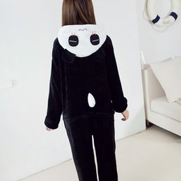 Wholesale One Piece Pajamas For Adults - Adult Kids Animal Pajamas Panda One Piece Unisex Costume Cosplay Onesies Sleepwear Warm Fleece Pajamas Sets For Men Women