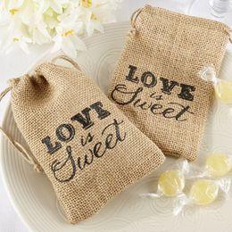 """Wholesale Chinese Sweets Wholesale - """"Love Is Sweet"""" Printed Burlap Bags Wedding Return Favor Gifts Wedding Burlap Favor Bags For Party 50pcs"""