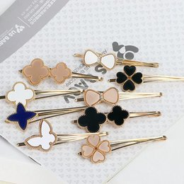 Wholesale Leaf Ornaments Wholesale - Good A++ Star butterfly knot hair clip hair ornaments Liu Hai folder word clip card four leaf grass FJ011 mix order 60 pieces a lot