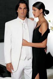 Wholesale Wedding Bridegroom - Wholesale- Classic Groom Tuxedo 3 Colors Groomsmen Mandarin Lapel Wedding Dinner Suits Best Man Bridegroom (Jacket+Pants+Tie+Vest) B175