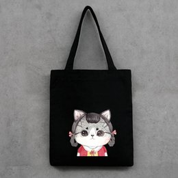 Wholesale Vegetable Prints - Fashion cute cat Printed Canvas Tote Female Casual shopping Bags Large Capacity Women Single shoulder Bag Daily Use resuable tote