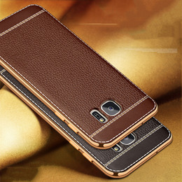 Wholesale Litchi Phone Case - Luxury Litchi Grain Painting Soft TPU Back Cover Case For Samsung Galaxy S7 Edge G9350   S7 G9300 Phone Bag Fundas